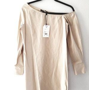 NWT Theory long sleeve cotton shirt dress beige